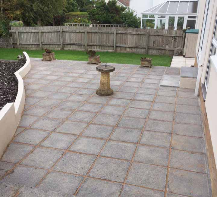 newly laid paving slabs in customer's garden
